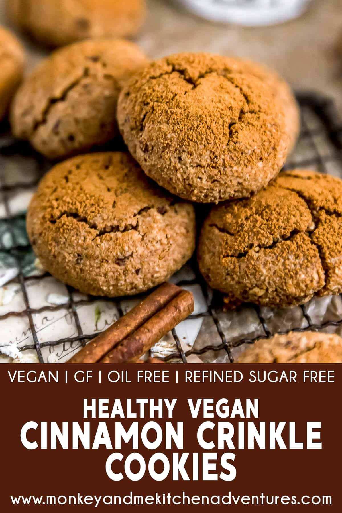 Healthy Vegan Cinnamon Crinkle Cookies with text description