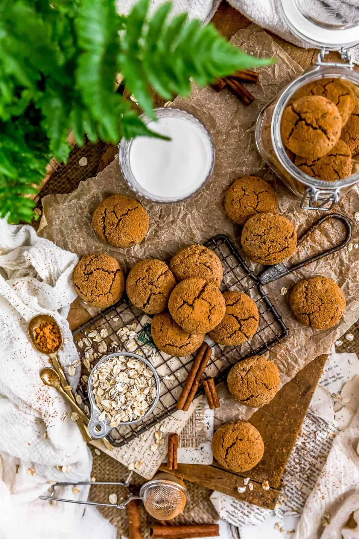 Tablescape of Healthy Vegan Cinnamon Crinkle Cookies