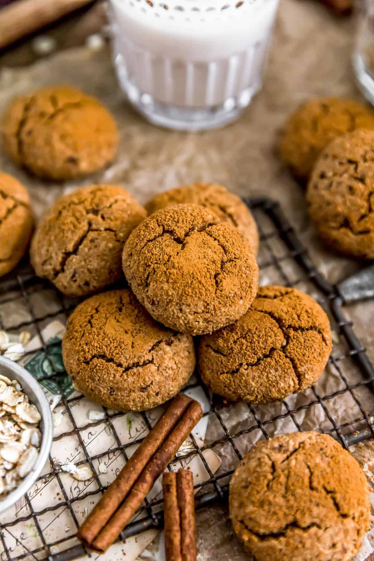 Healthy Vegan Cinnamon Crinkle Cookies on a cooling rack