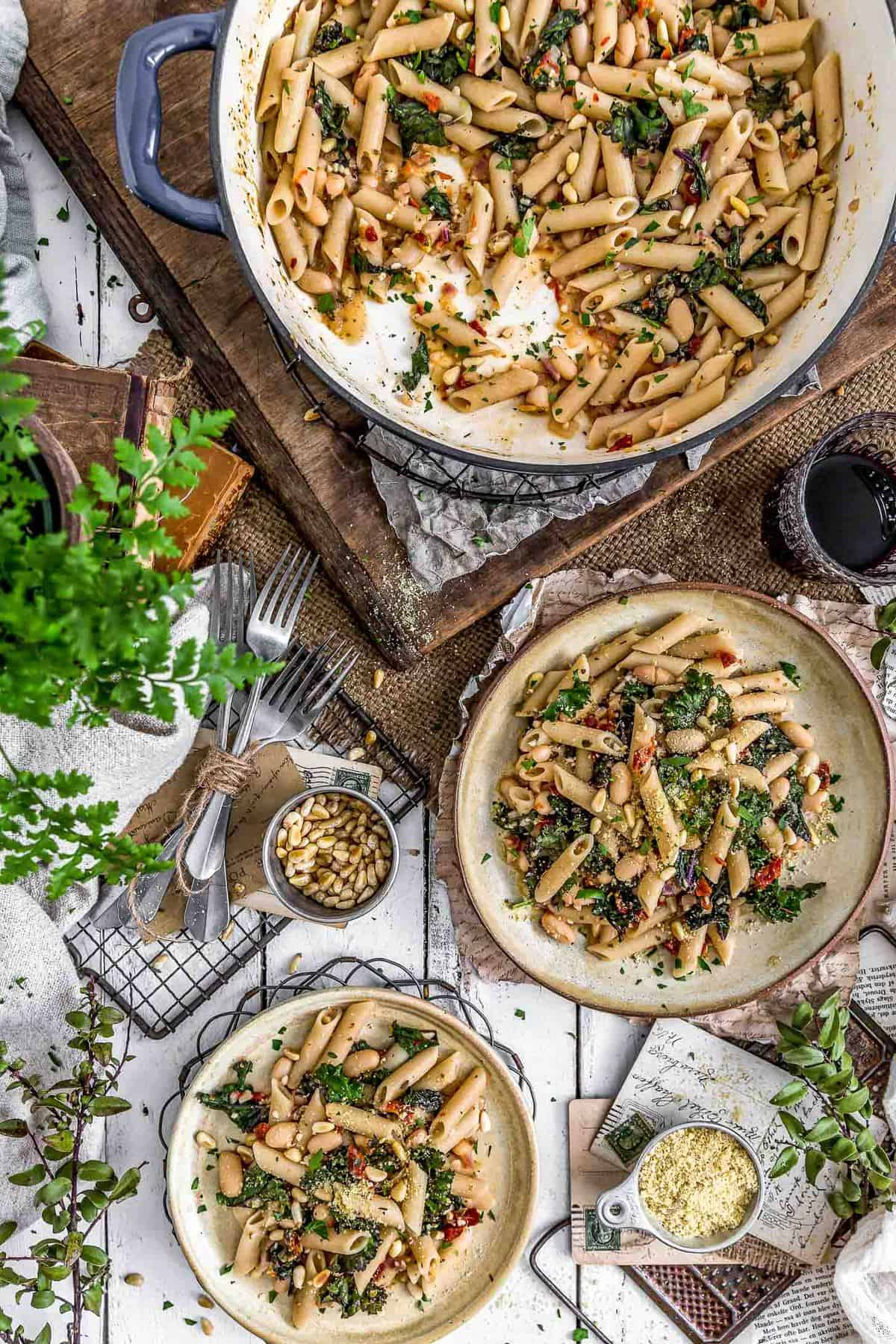 Tablescape of Italian Pasta and Kale