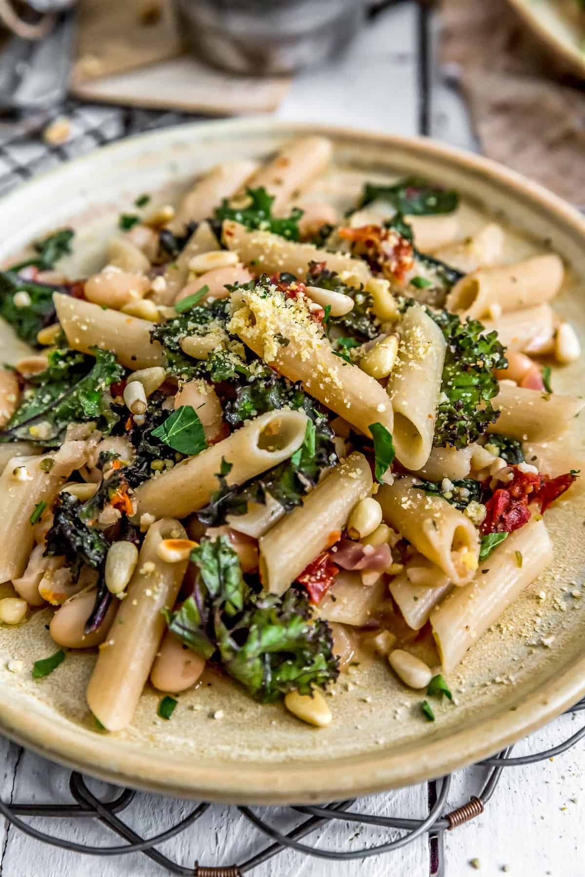 Plate of Italian Pasta and Kale