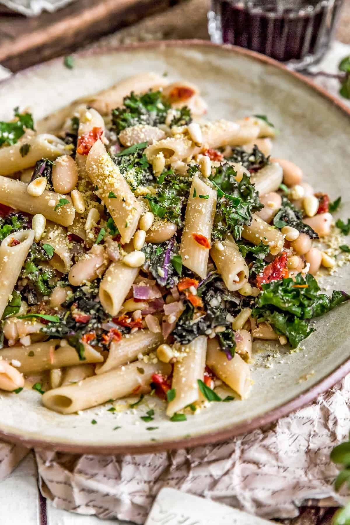 Close up Italian Pasta and Kale