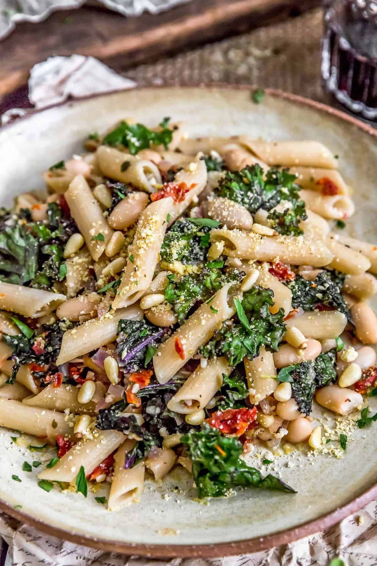 Close up of Italian Pasta and Kale