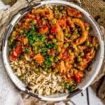 Bowl of Lebanese Soy Curls and Pea Stew (Bazilla) over rice
