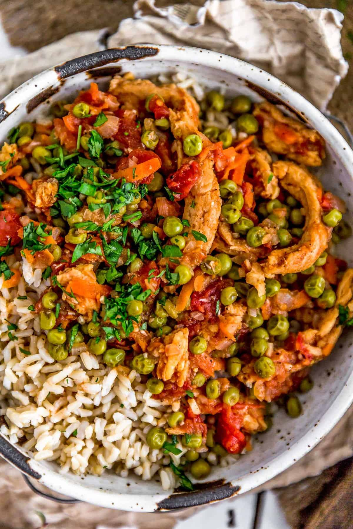 Close up of Lebanese Soy Curls and Pea Stew (Bazilla)