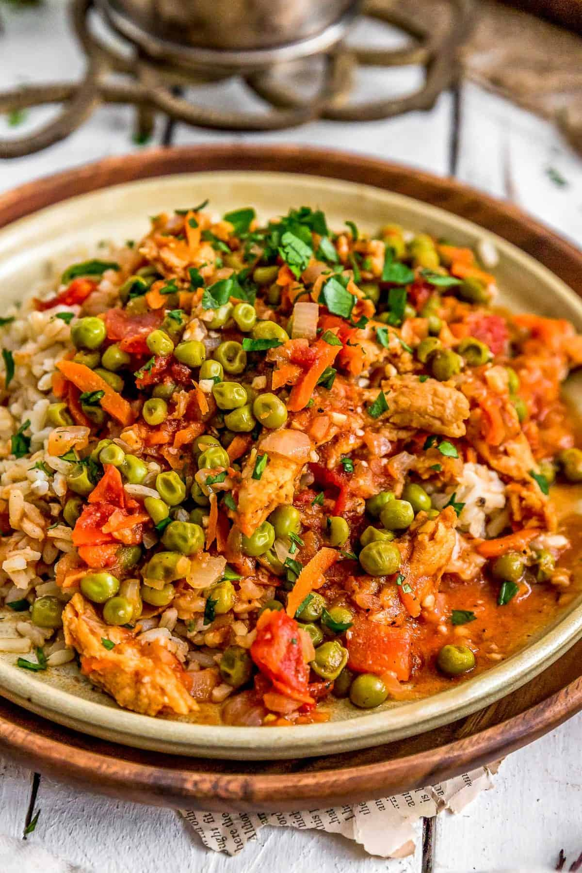 Lebanese Soy Curls and Pea Stew (Bazilla)