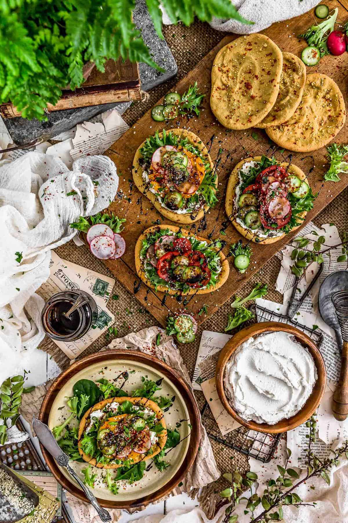 Tablescape of Mini Mediterranean Quinoa Flatbreads