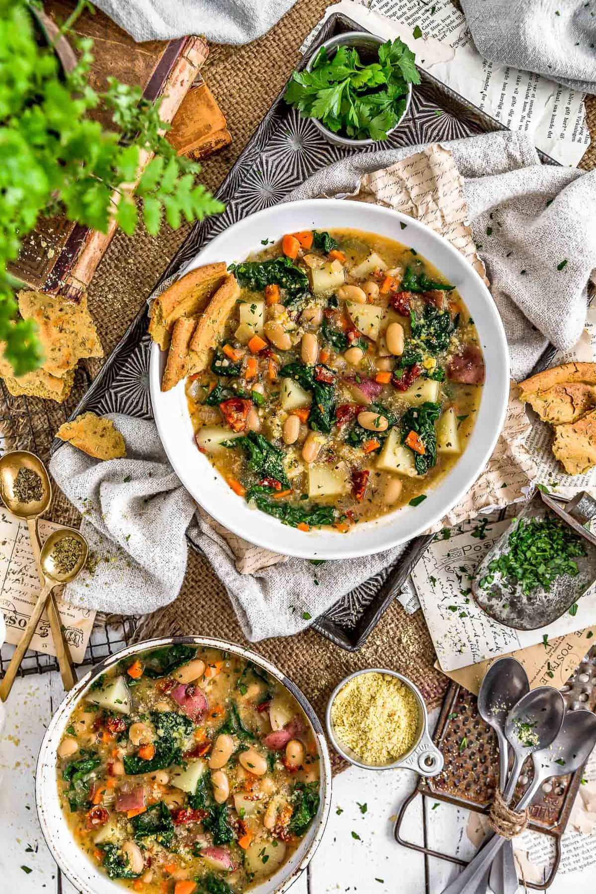 Tablescape of Tuscan Kale Potato Bean Soup