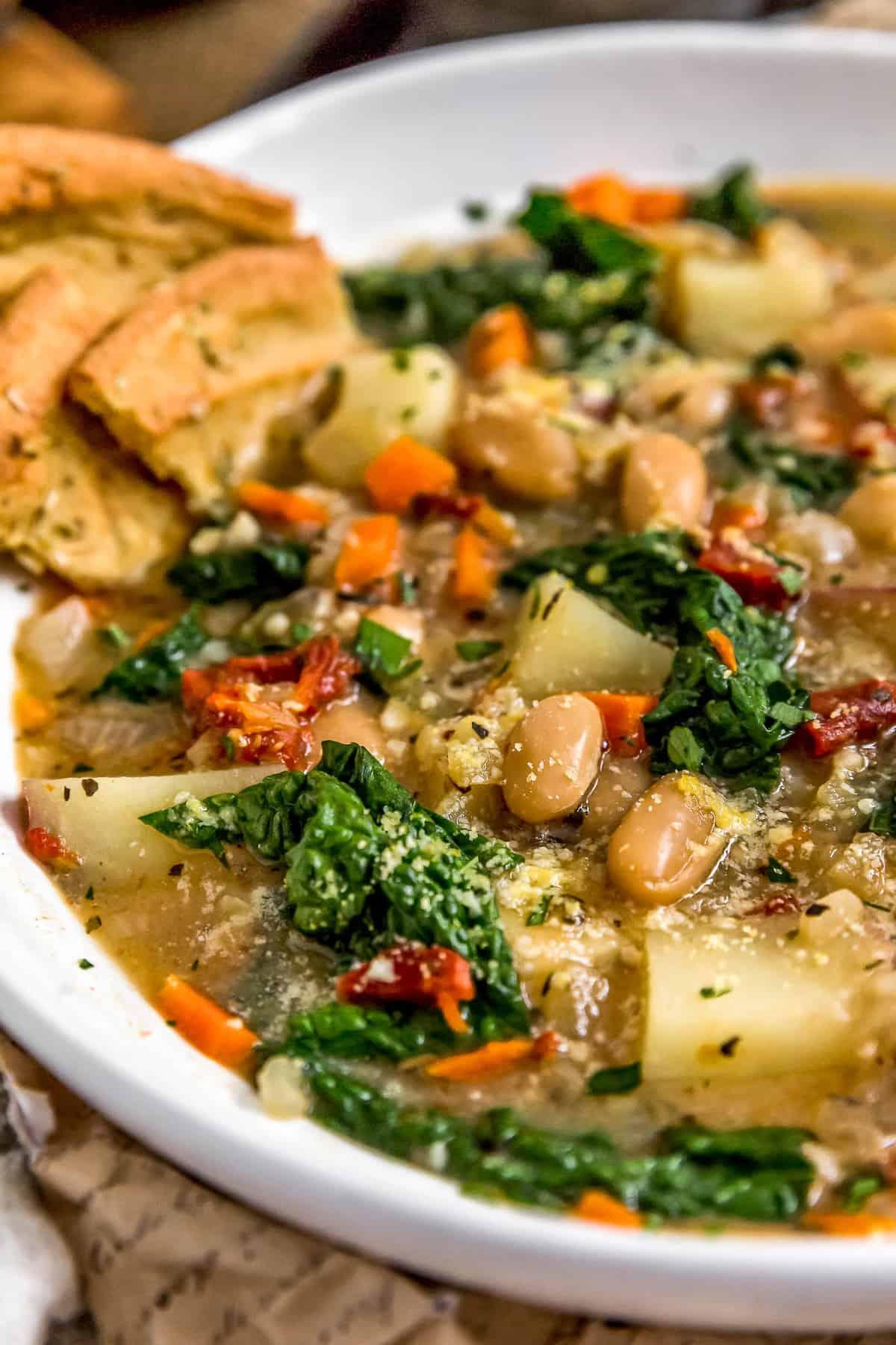 Close up of Tuscan Kale Potato Bean Soup