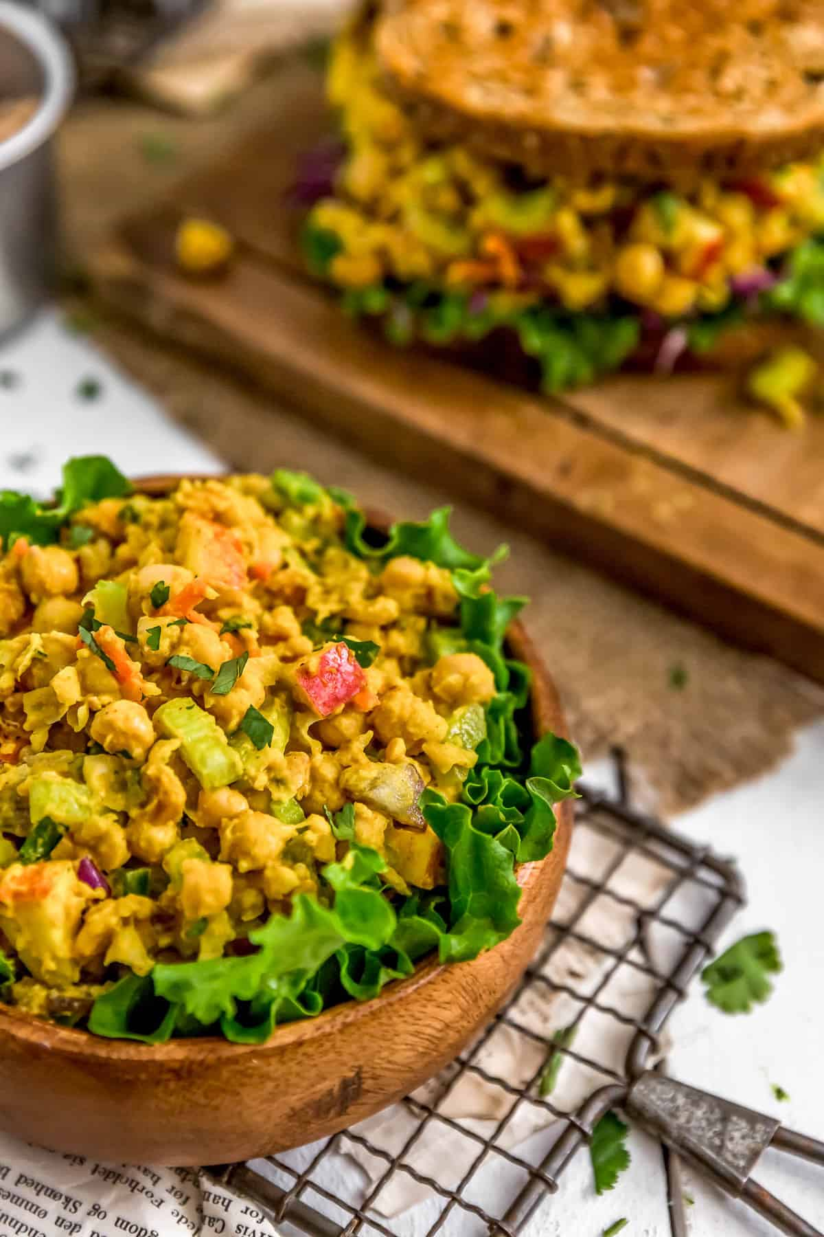 Vegan Curried Chickpea Salad in a bowl and sandwich