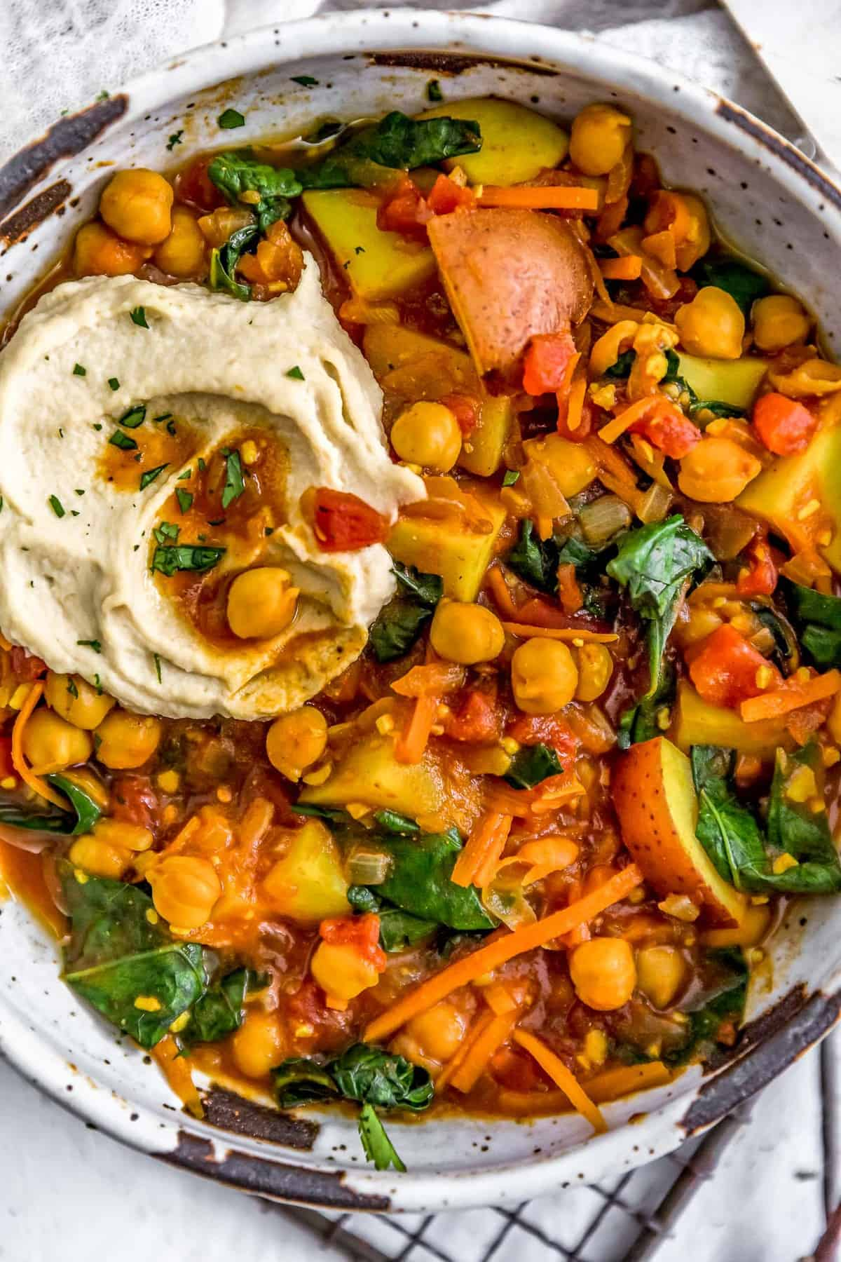 Close up of Berbere Potato Bean Stew in a bowl
