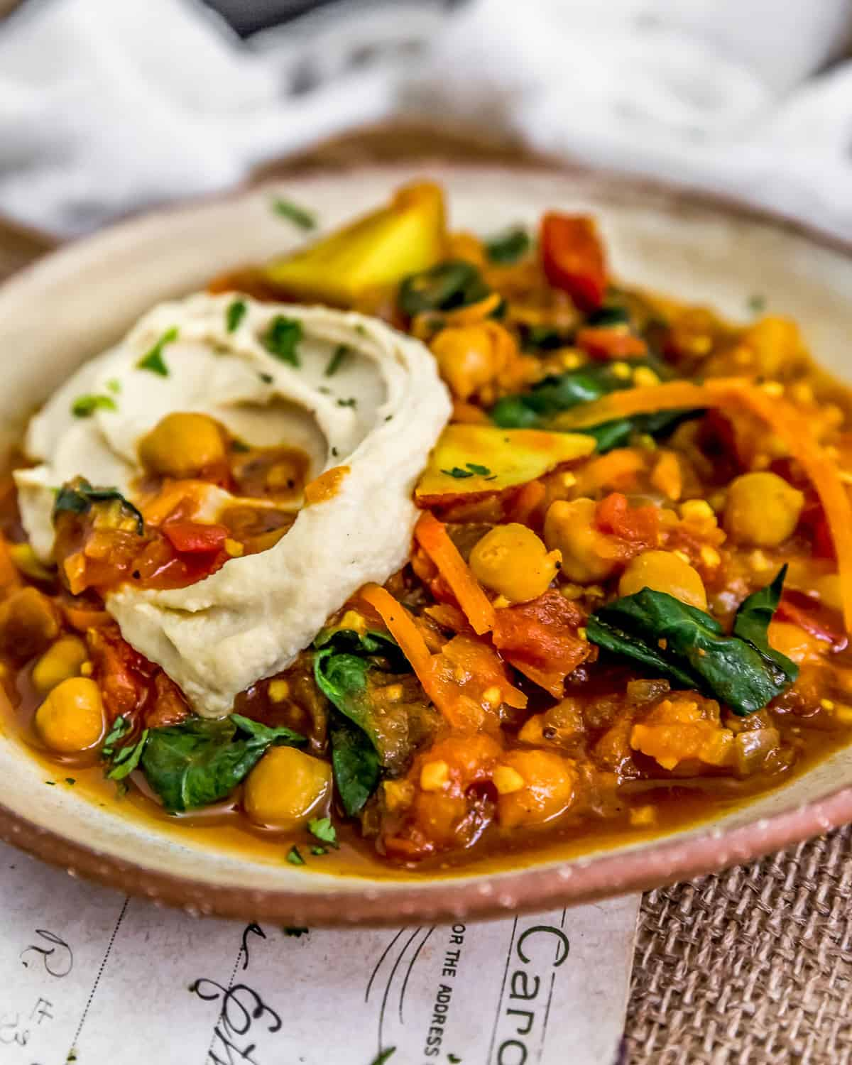 Plate of Berbere Potato Bean Stew with hummus