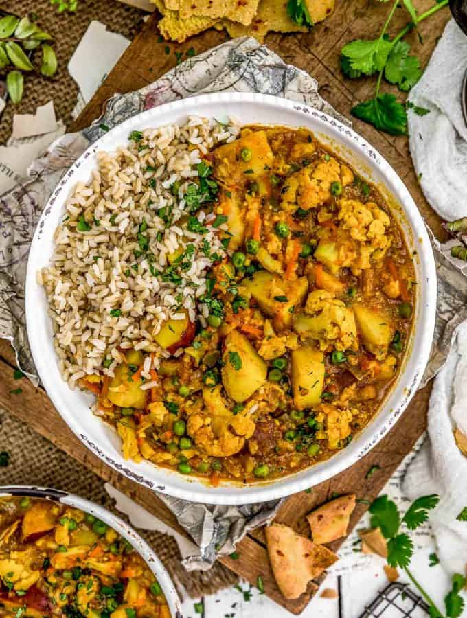 Cauliflower Potato Curry in a bowl