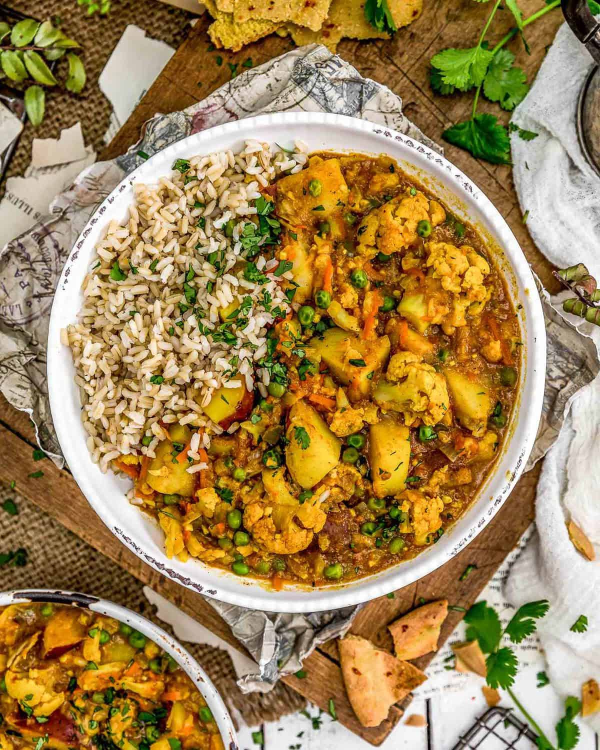 Cauliflower Potato Curry in a bowl