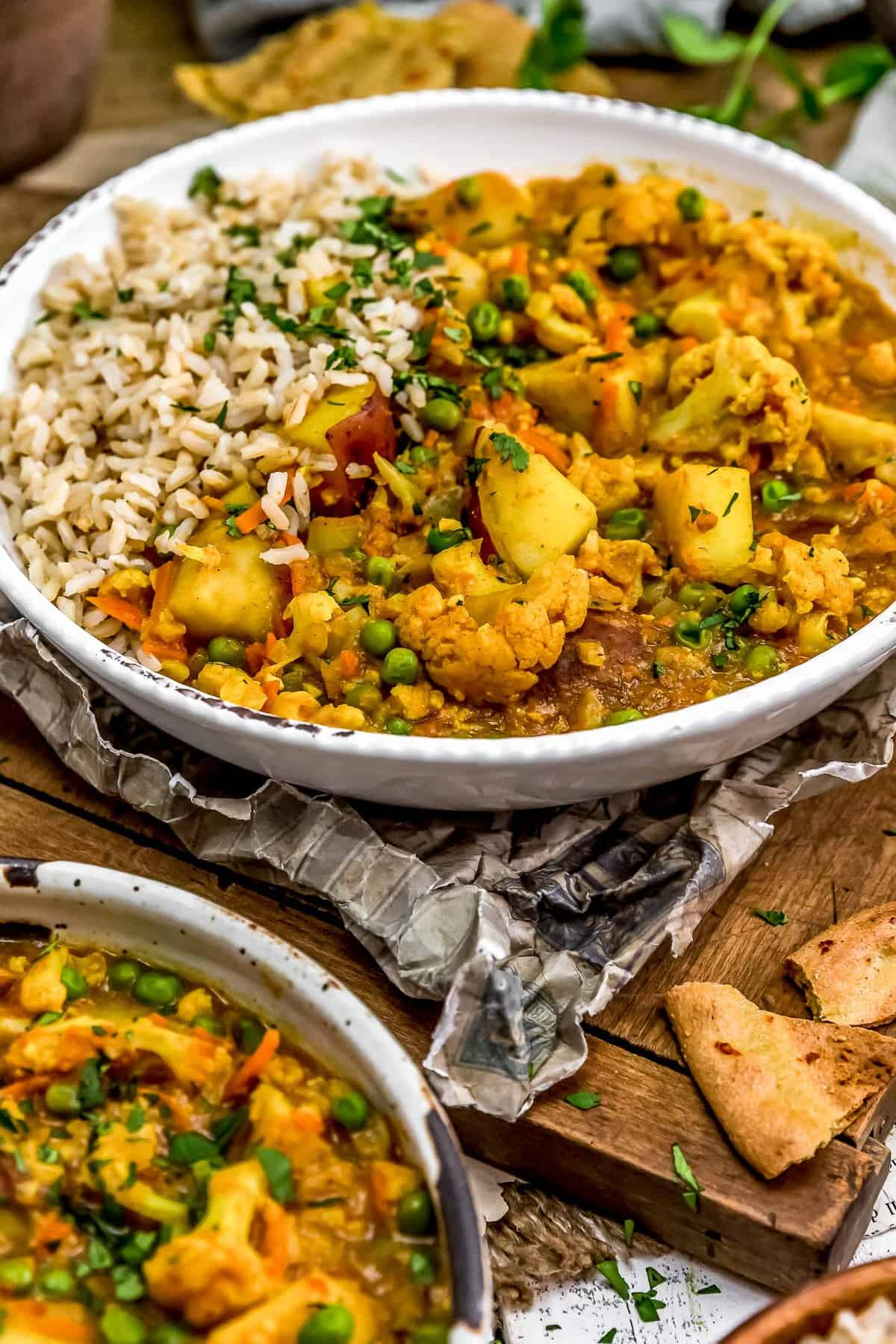 Two Bowls of Cauliflower Potato Curry