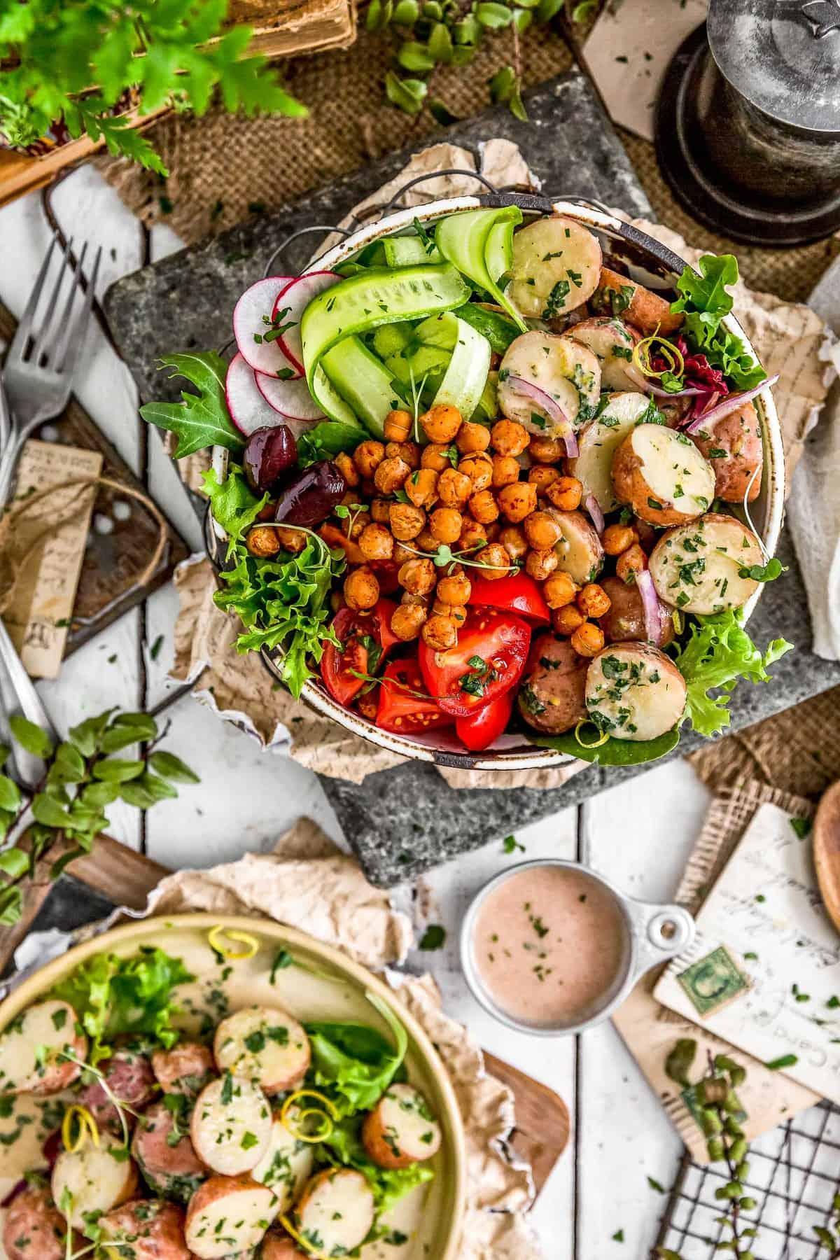 Tablescape of Greek Potato Salad