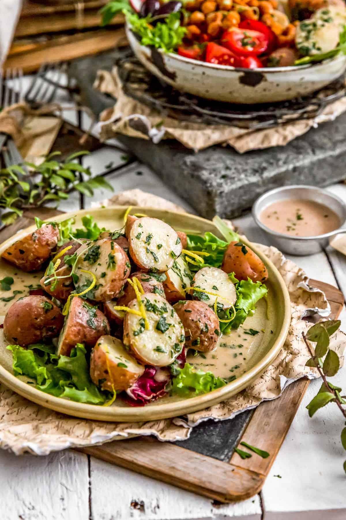 Plated Greek Potato Salad