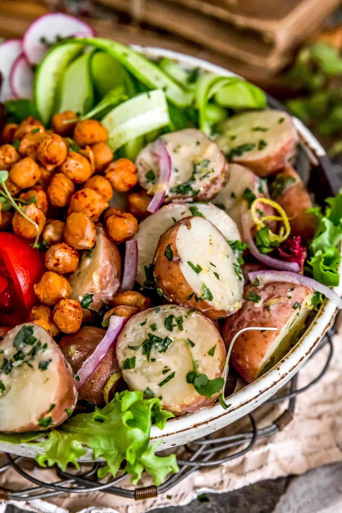 Greek Potato Salad in a veggie bowl