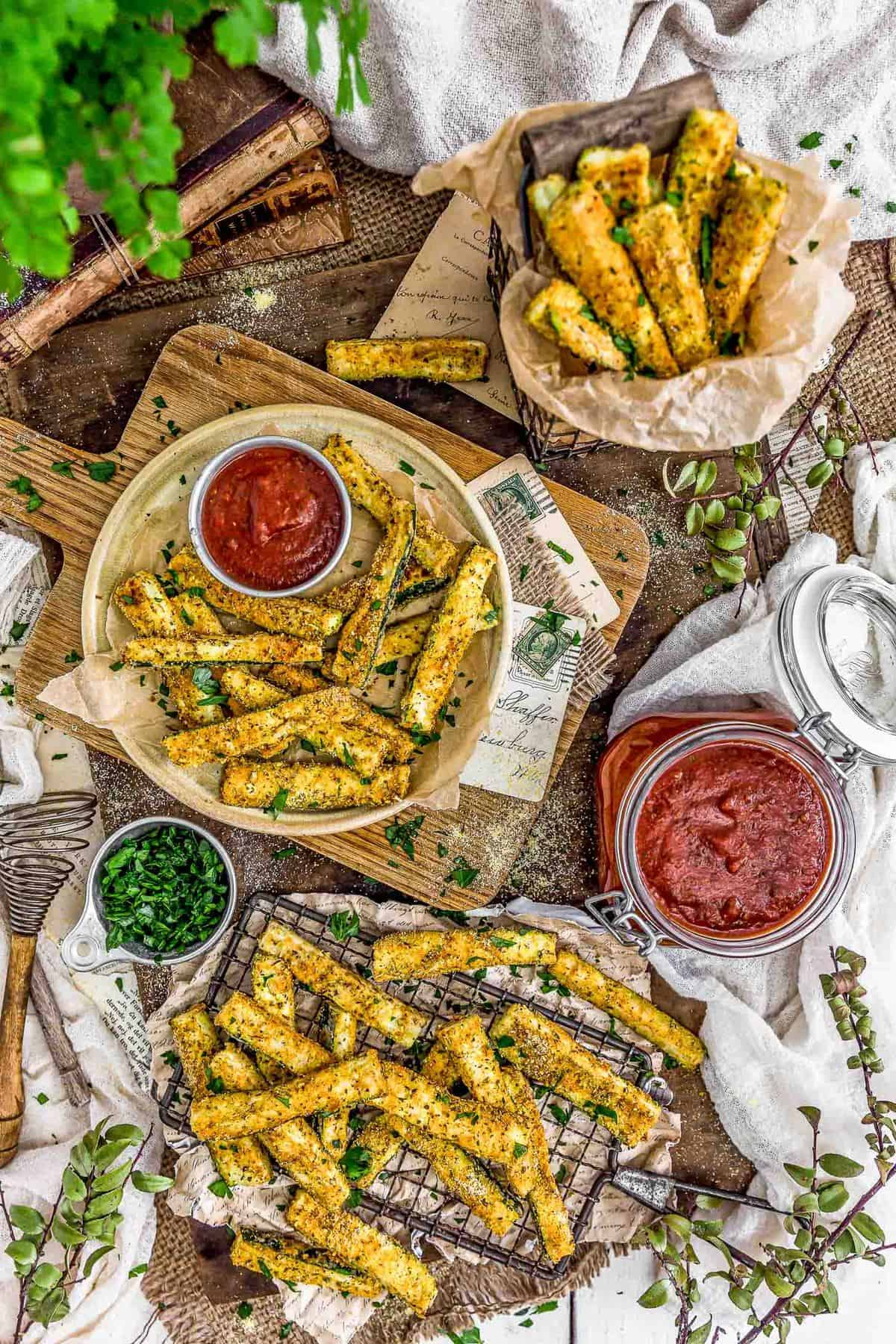 Tablescape of Italian Baked Zucchini Fries