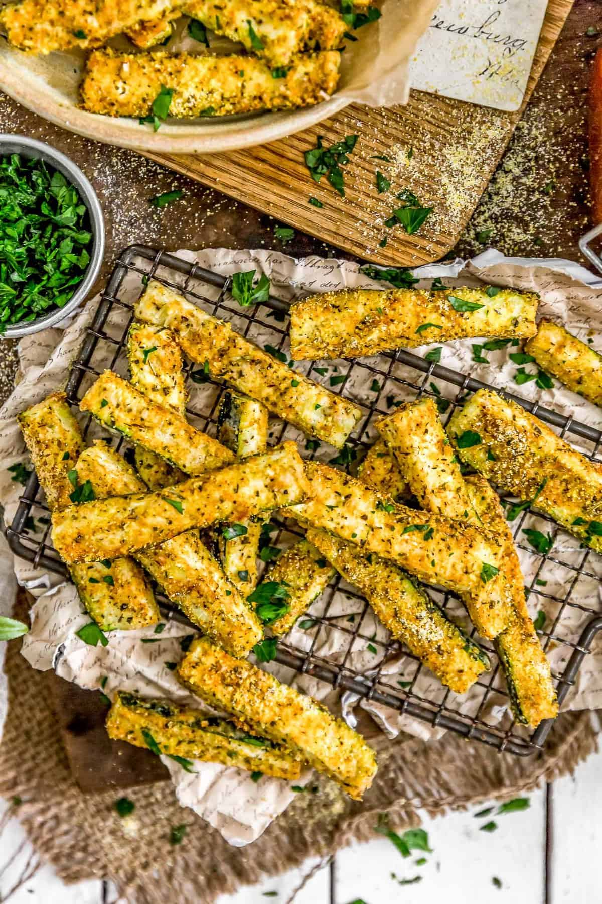 Italian Baked Zucchini Fries on cooling rack