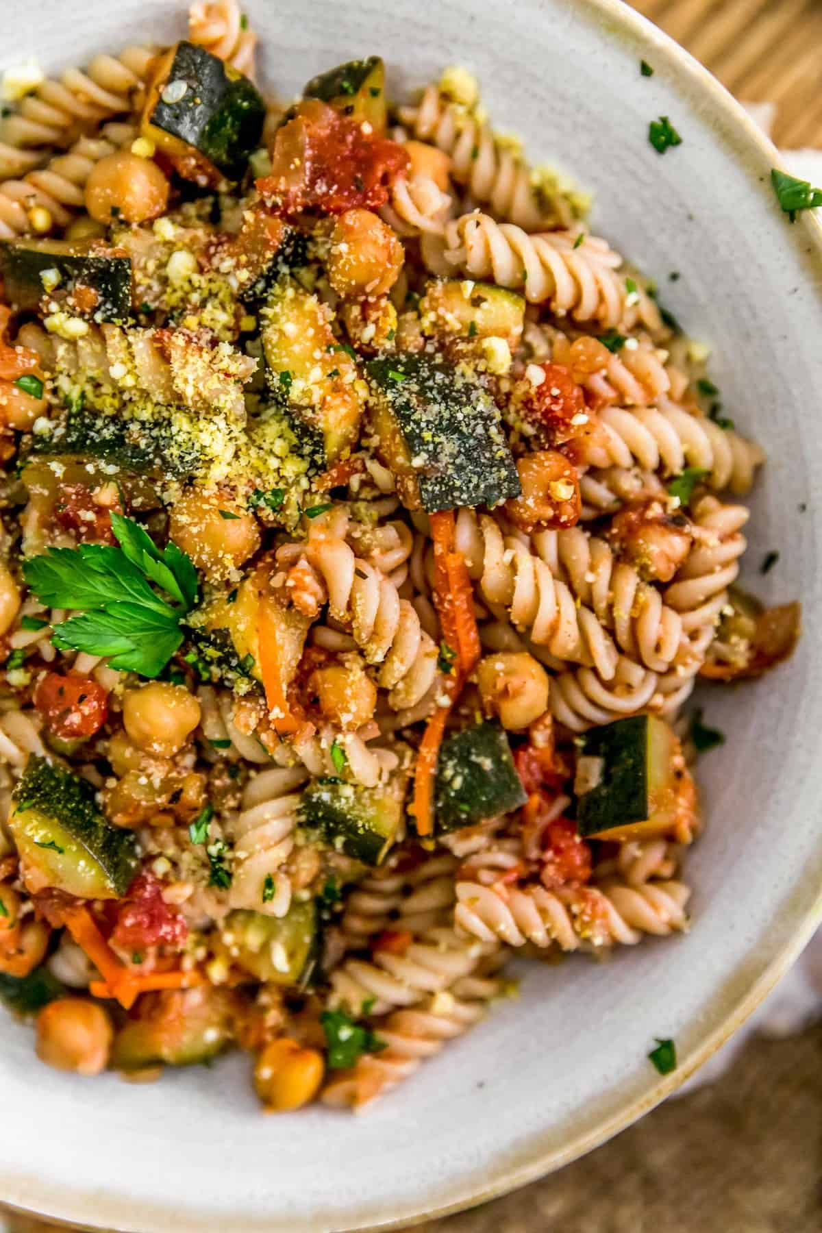 Close up of Italian Stewed Zucchini and Chickpeas with pasta