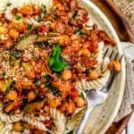 Italian Stewed Zucchini and Chickpeas over pasta