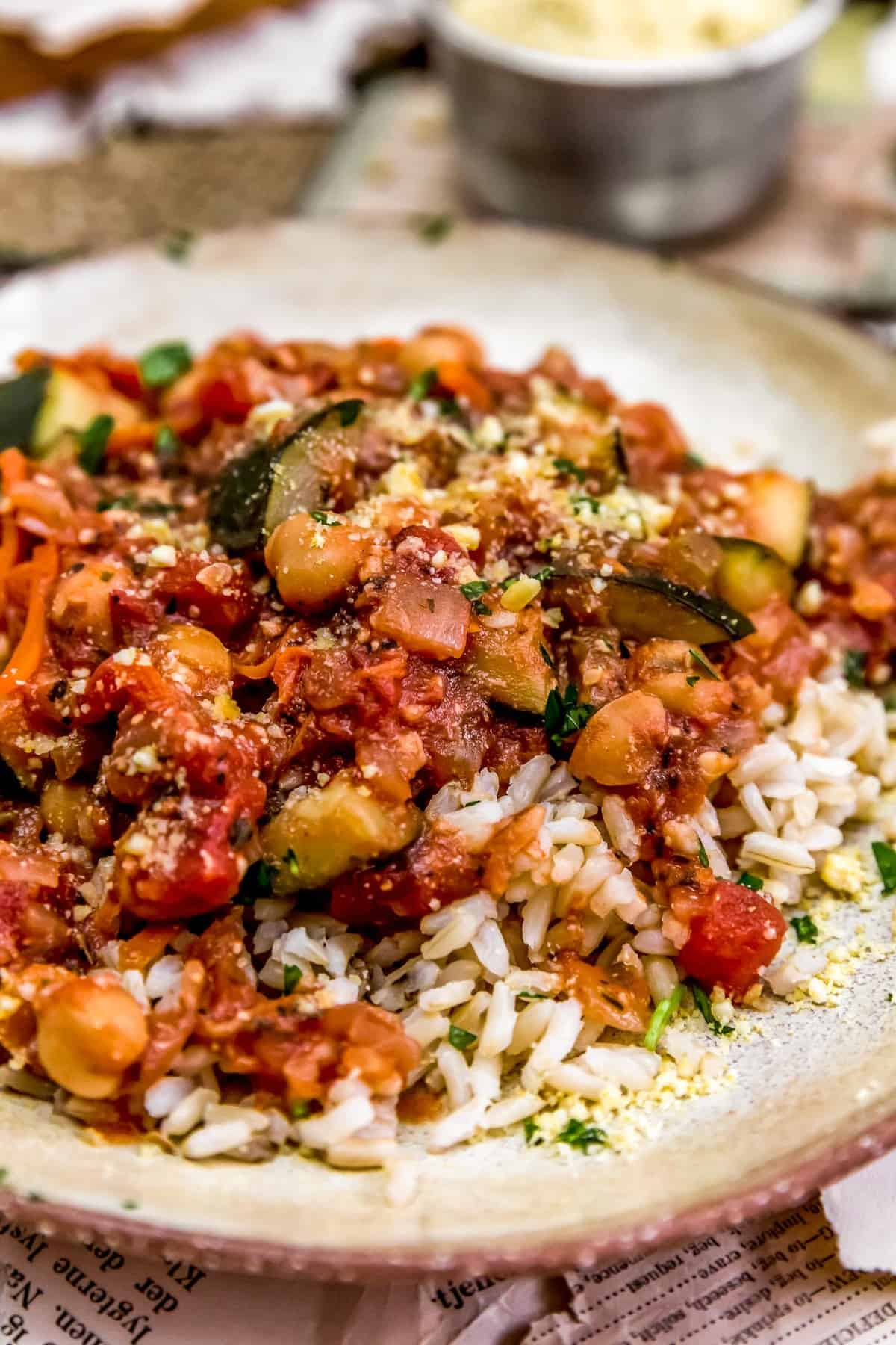 Close up of Italian Stewed Zucchini and Chickpeas over rice