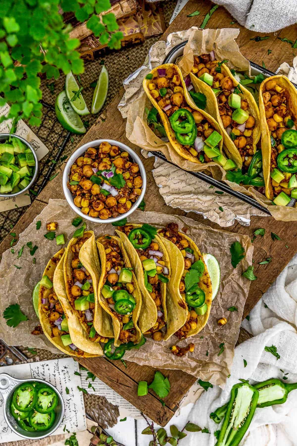 Tablescape of Spicy Pineapple Chickpea Tacos