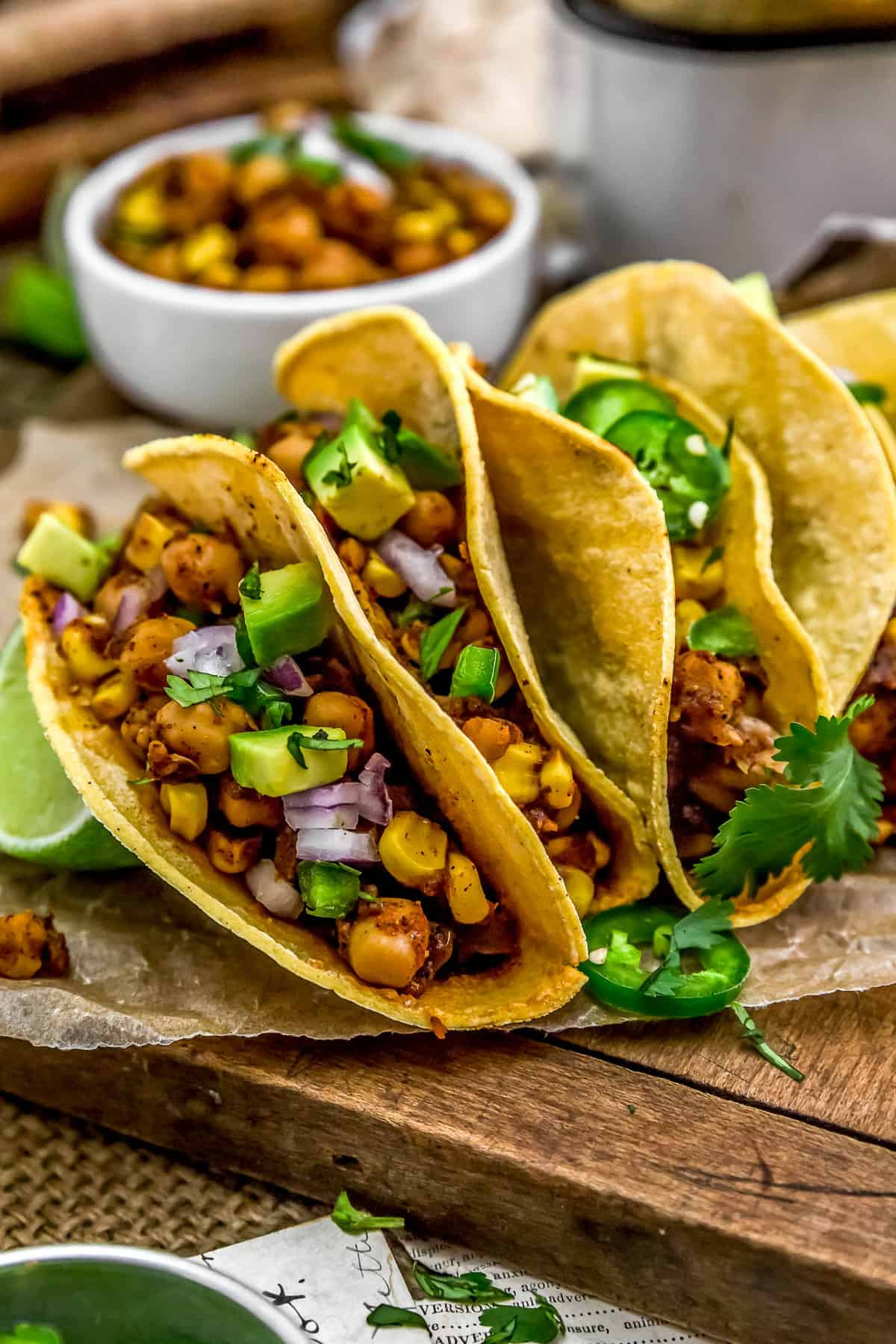 Line of Spicy Pineapple Chickpea Tacos