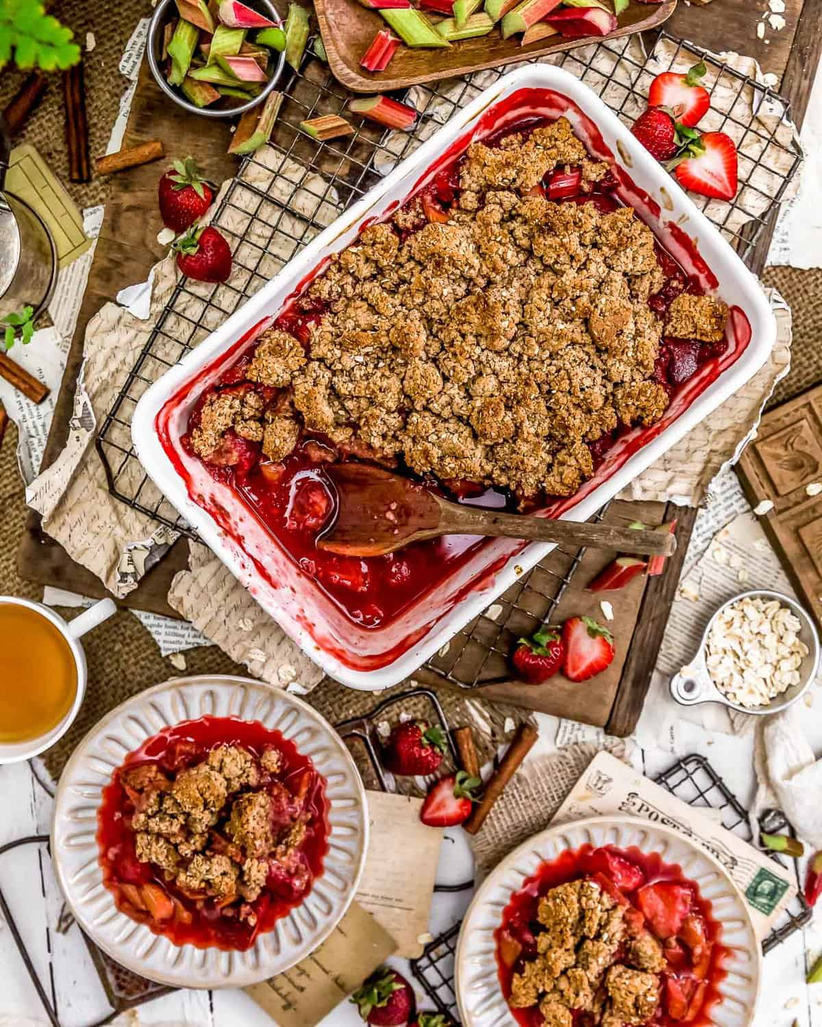 Tablescape of Strawberry Rhubarb Crumble