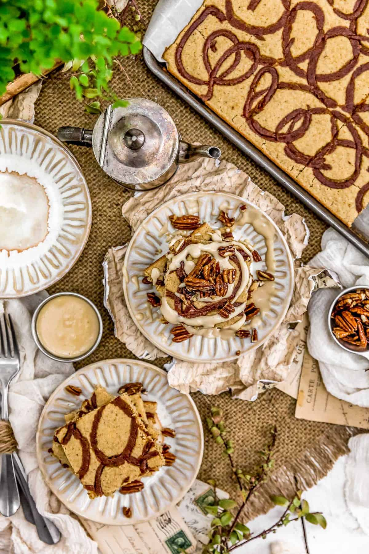 Tablescape of Vegan Cinnamon Bun Sheet Pan Pancakes