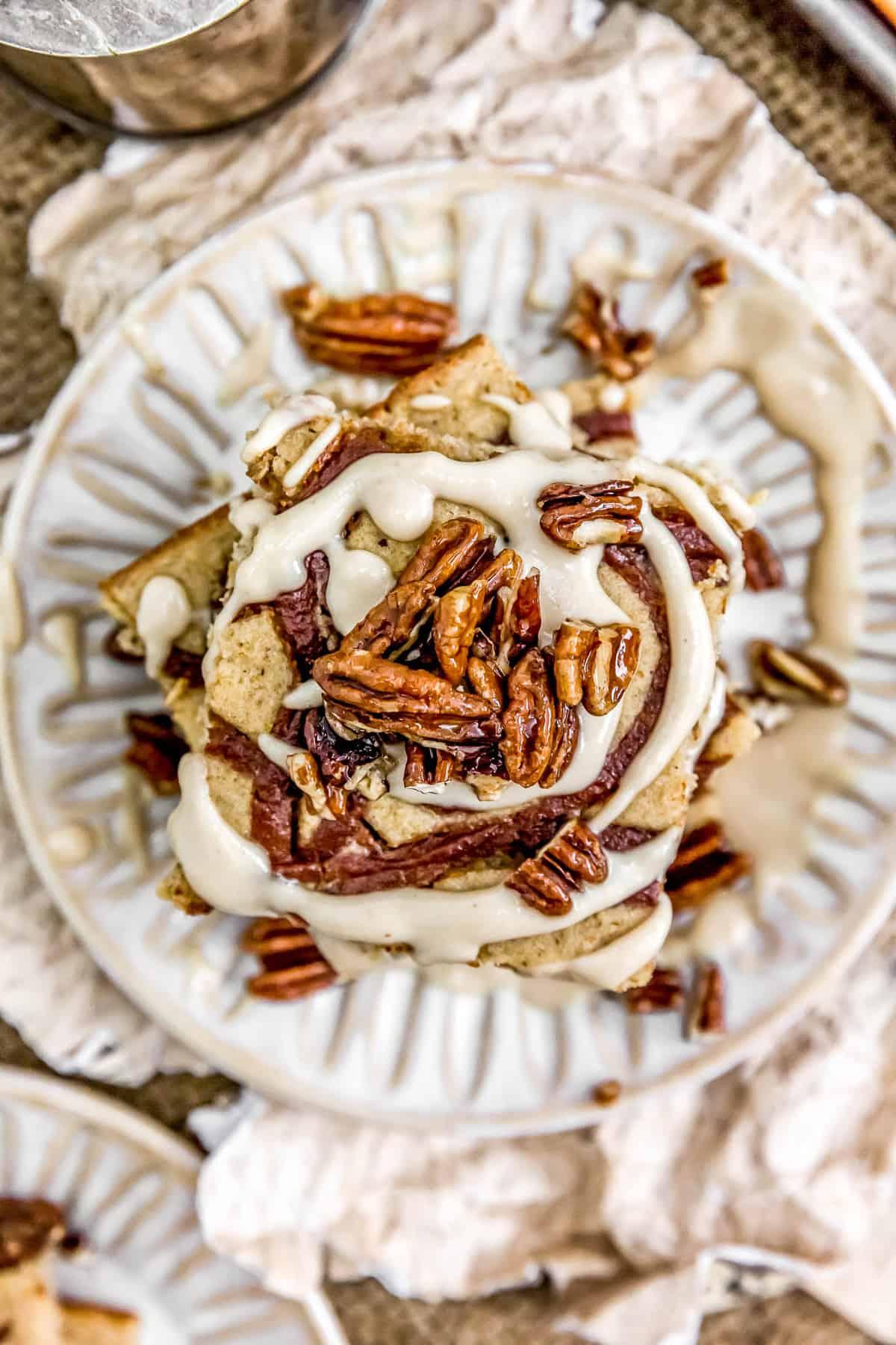 Close up of Vegan Cinnamon Bun Sheet Pan Pancakes