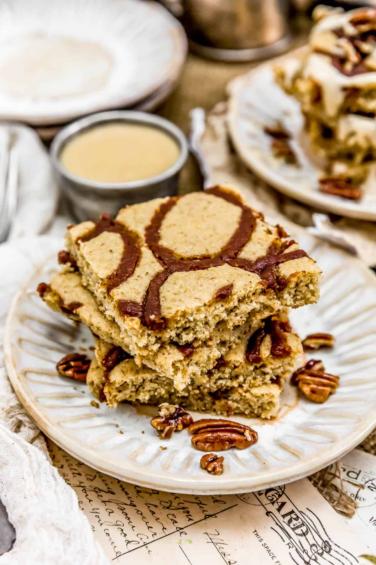 Stack of Vegan Cinnamon Bun Sheet Pan Pancakes