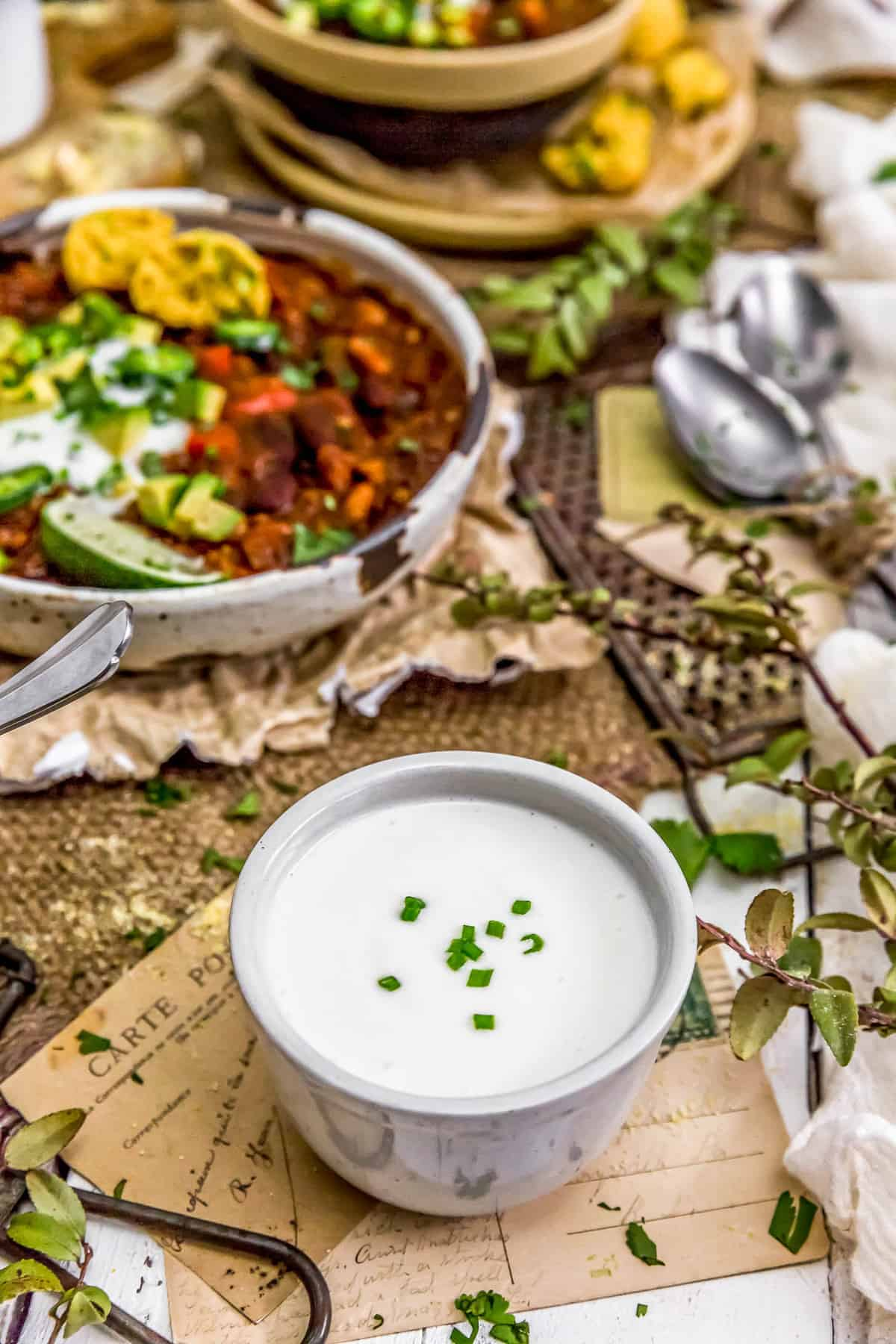 Vegan Sour Cream with vegan chili