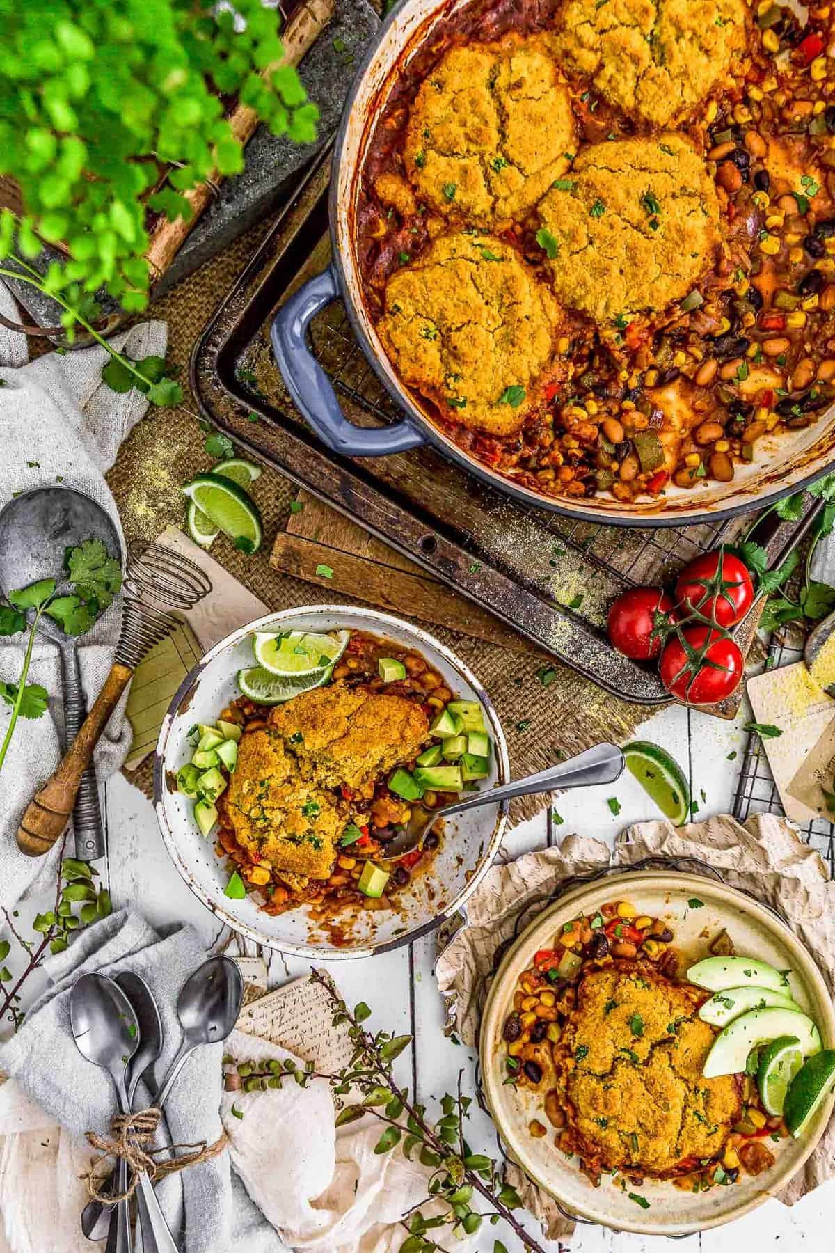 Tablescape of Vegan Tamale Skillet with plated dishes