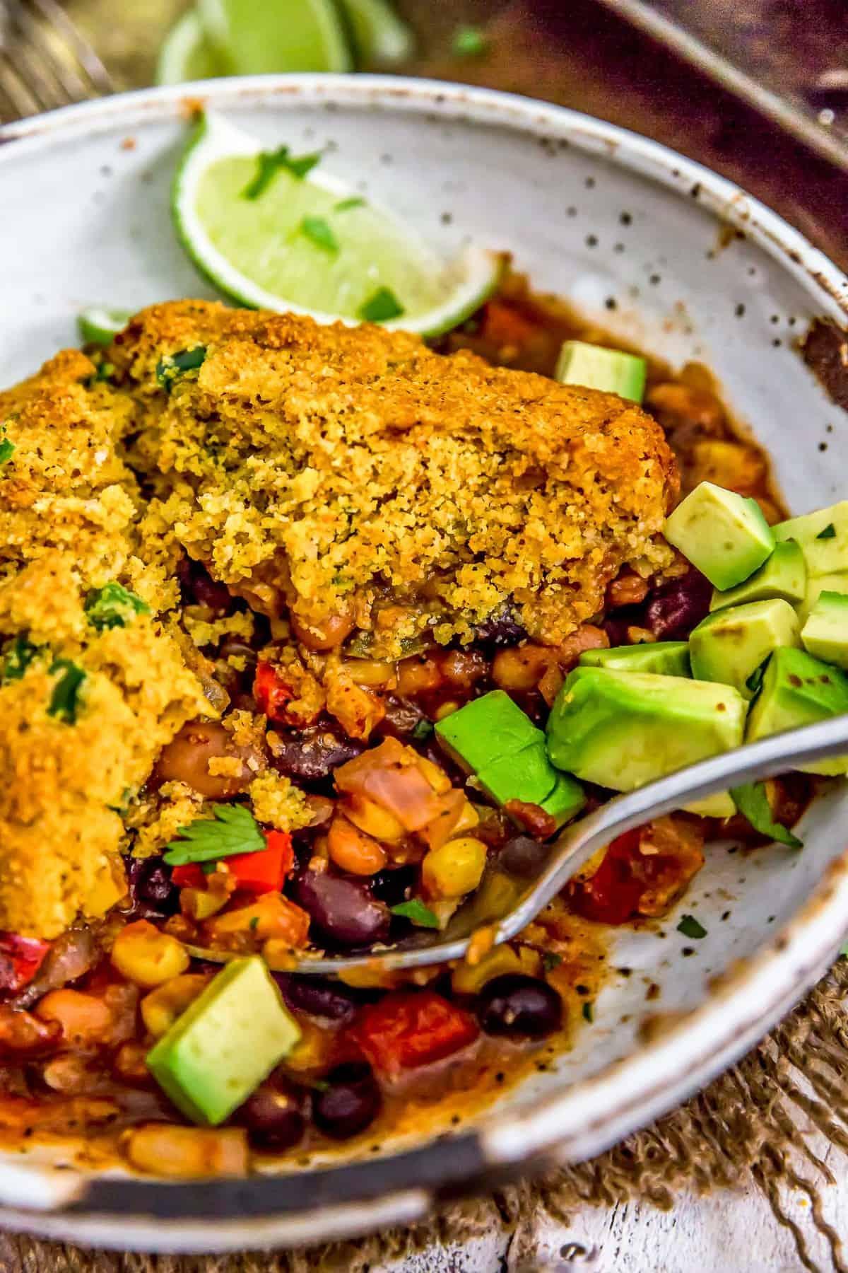 Close up of a bowl of Vegan Tamale Skillet