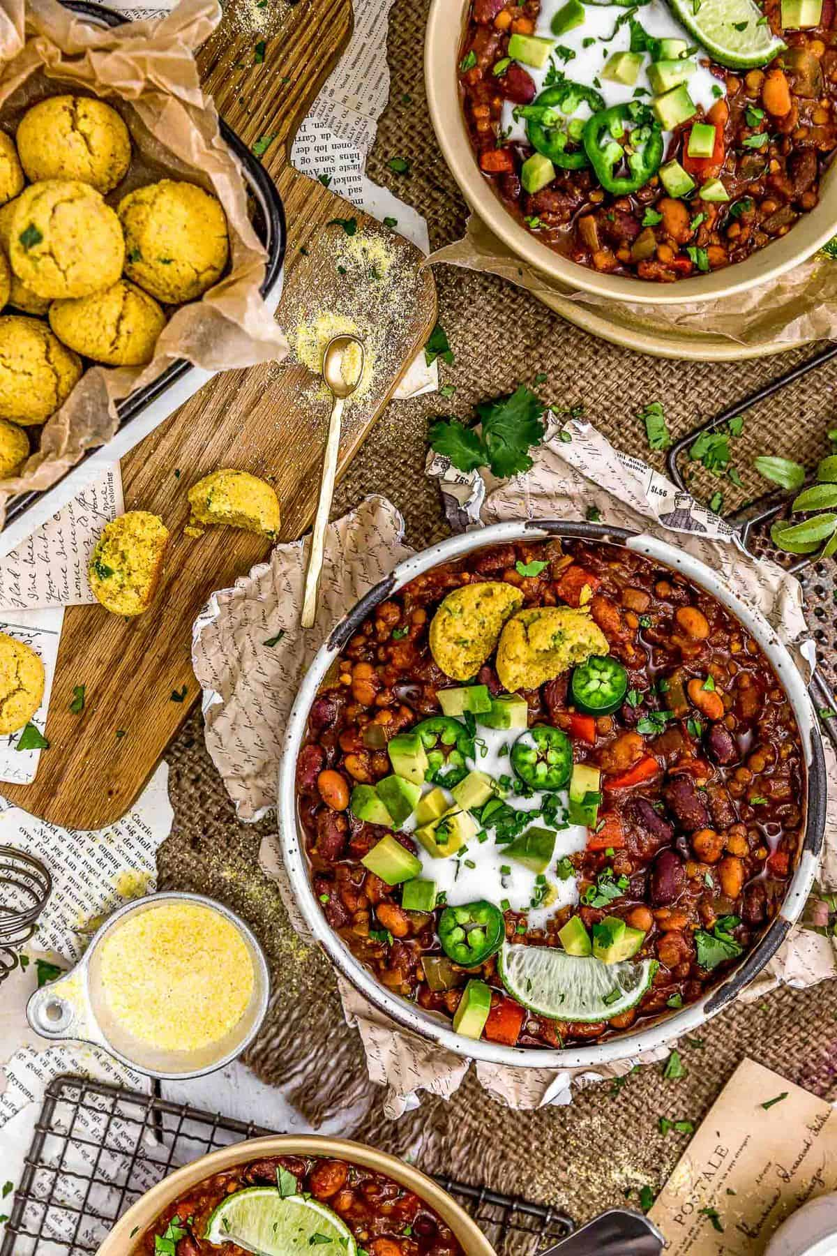 Tablescape of Vegan Three Bean Chili