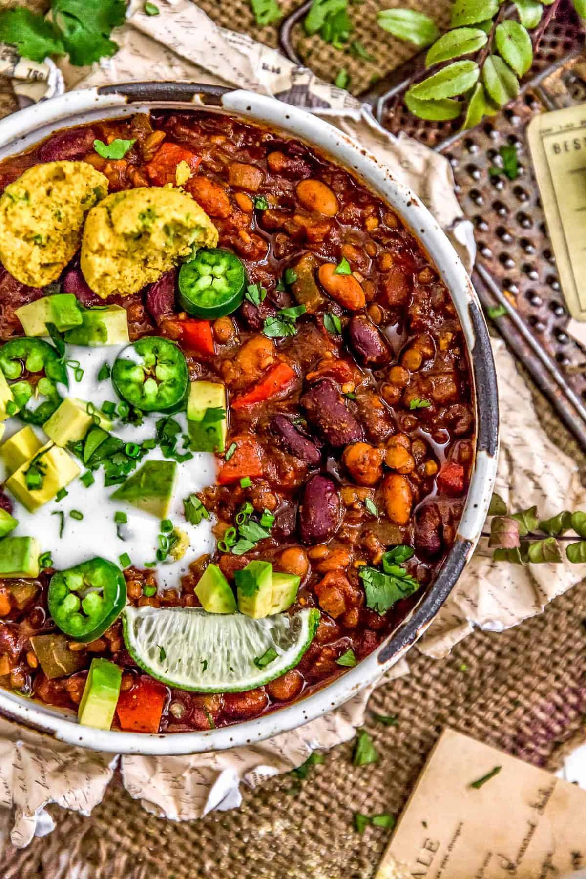 Vegan Three Bean Chili in a bowl