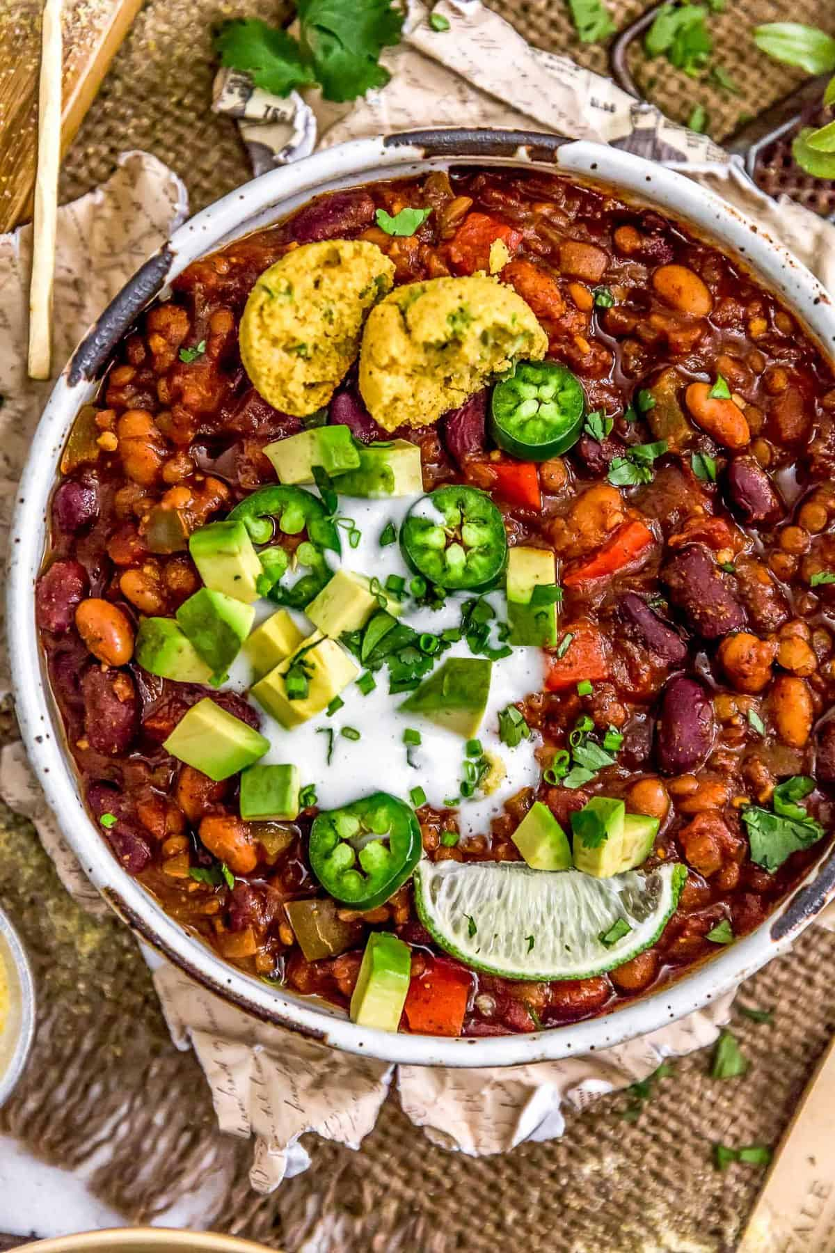 Close up of Vegan Three Bean Chili