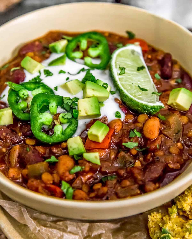 Vegan Three Bean Chili with vegan sour cream