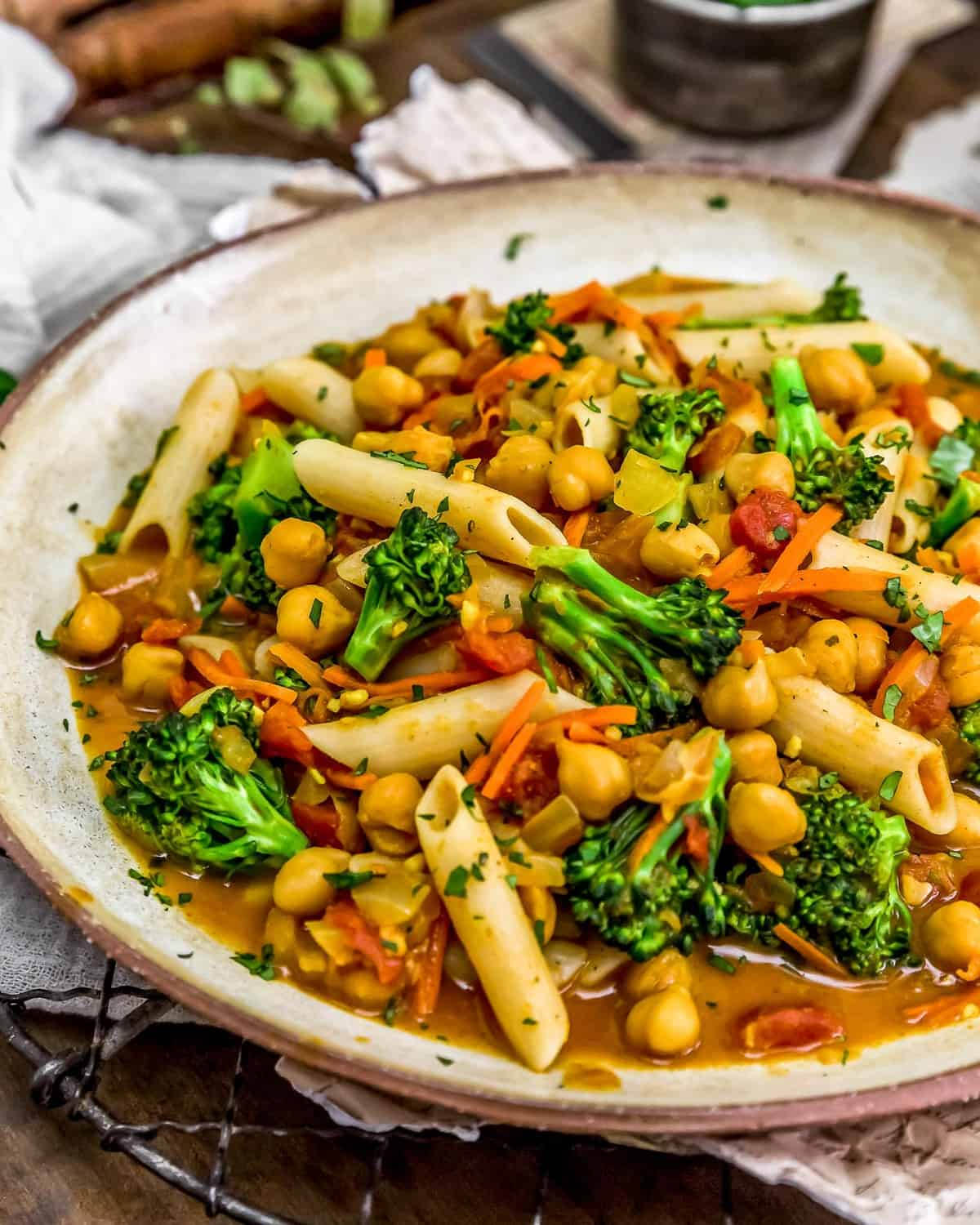 Plate of Curry Broccoli and Pasta