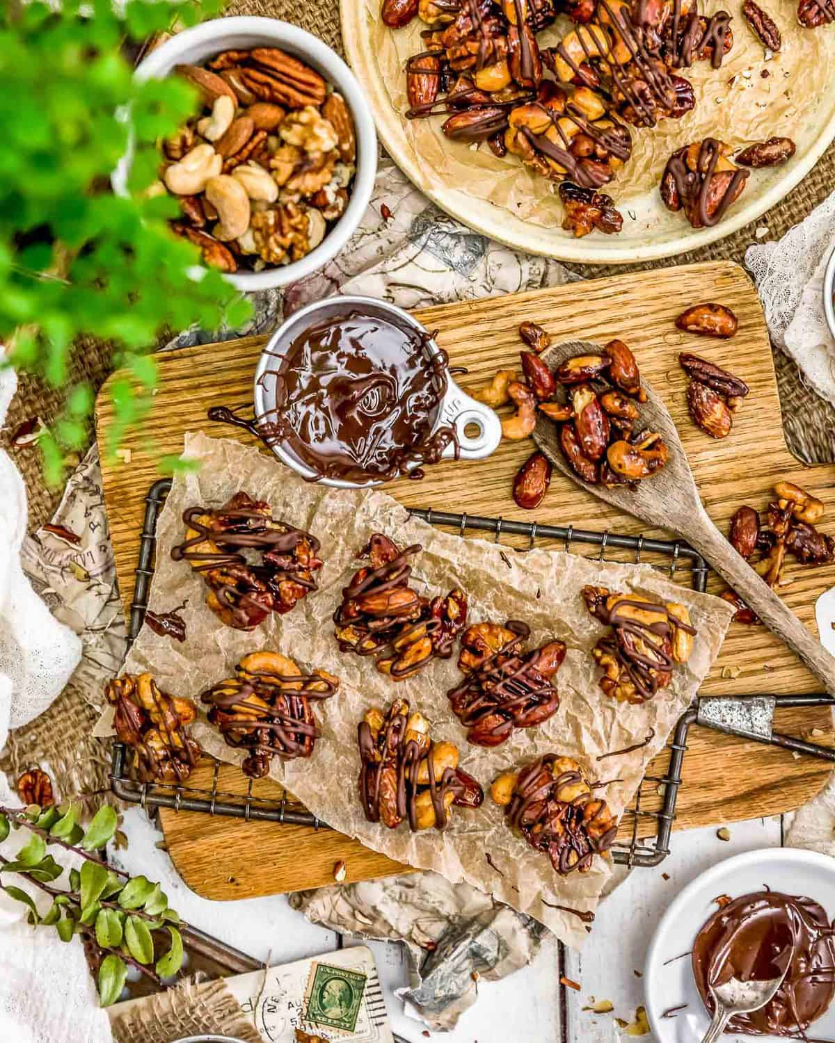 Tablescape of Maple Glazed Nut Clusters