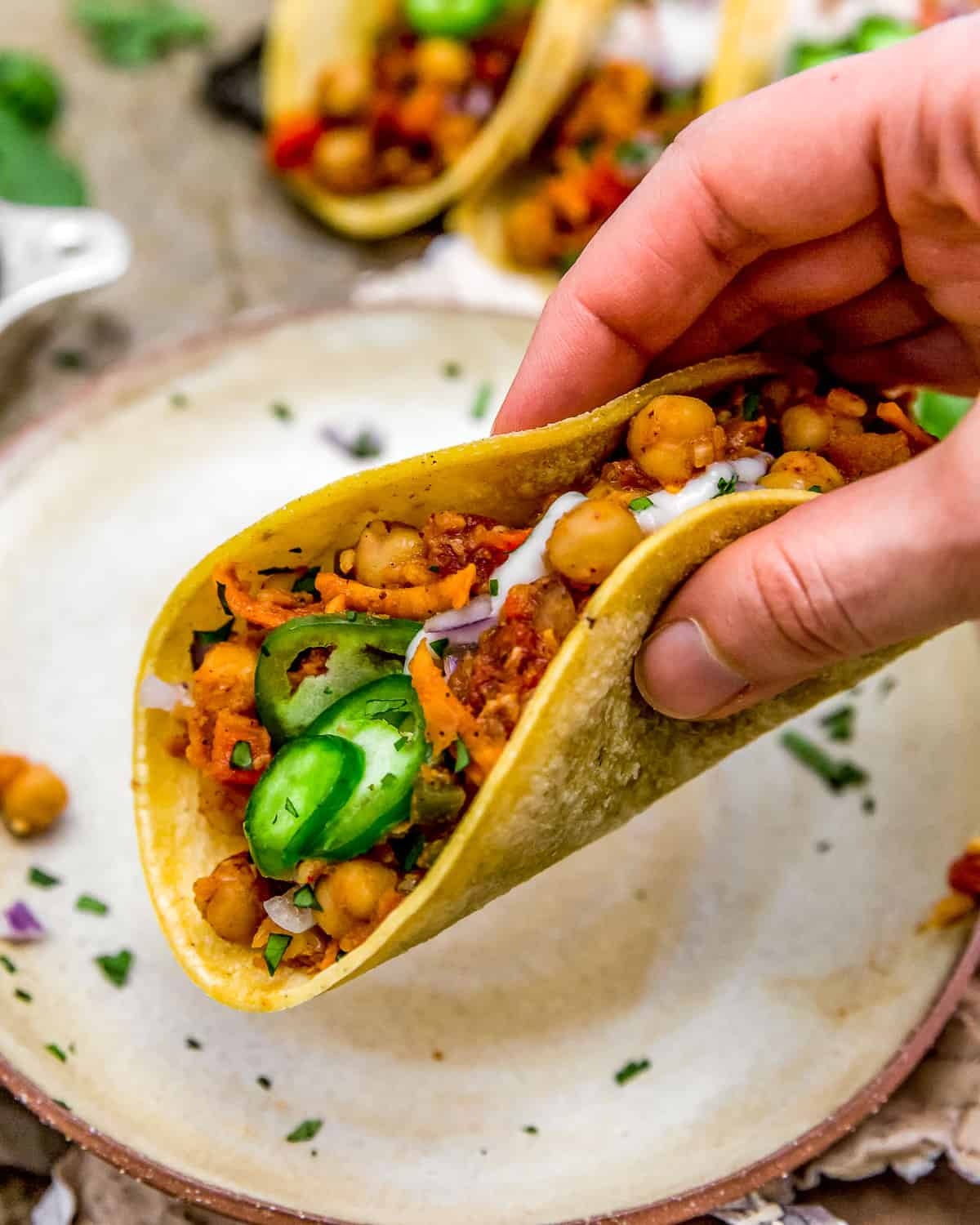 Eating a Spicy Moroccan Tacos