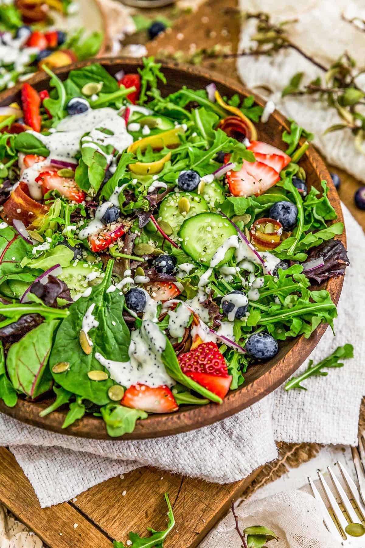 Salad Bowl with Vegan Lemon Poppy Seed Dressing