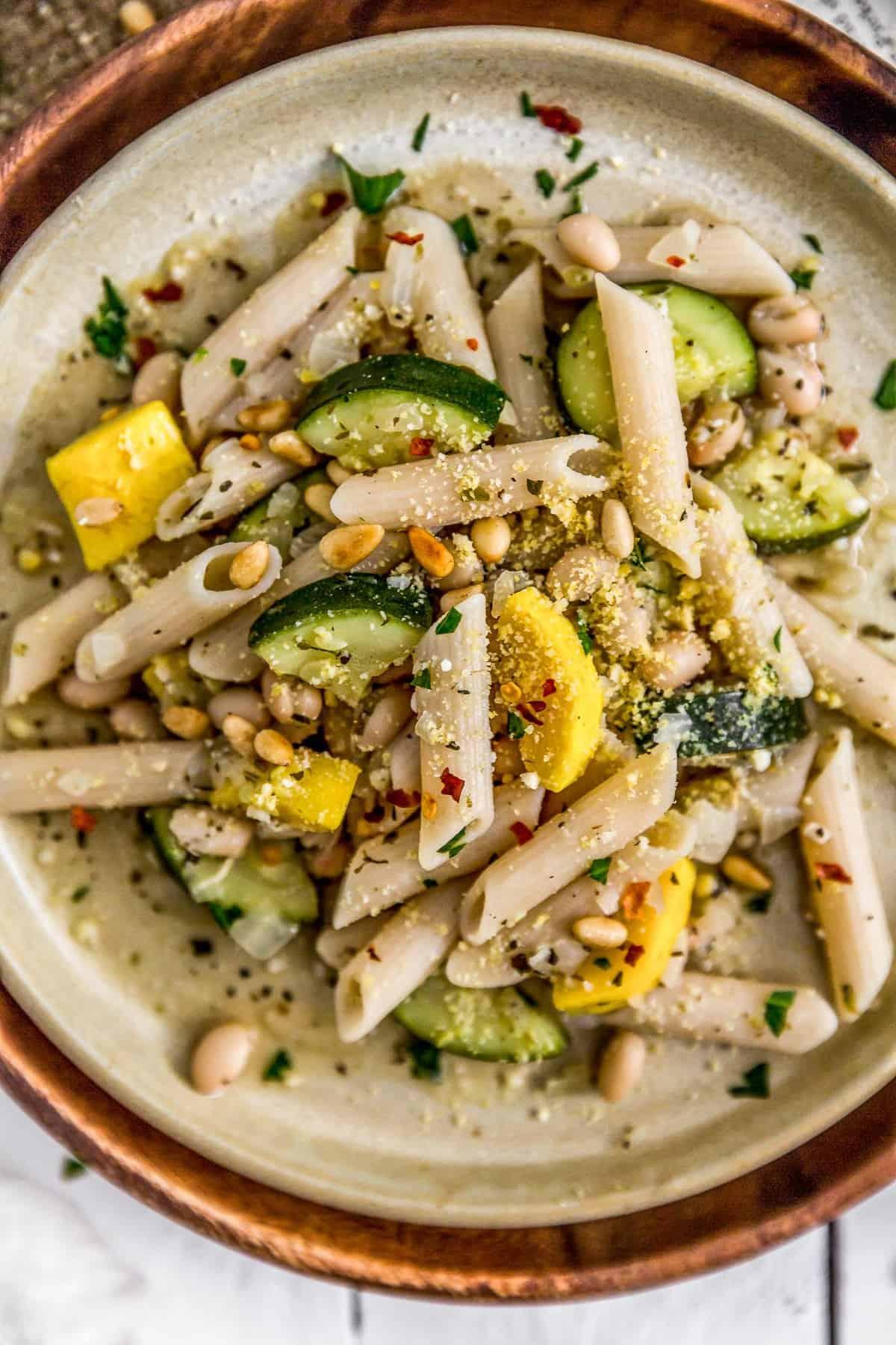 Dish of Vegan Parmesan Veggie Pasta