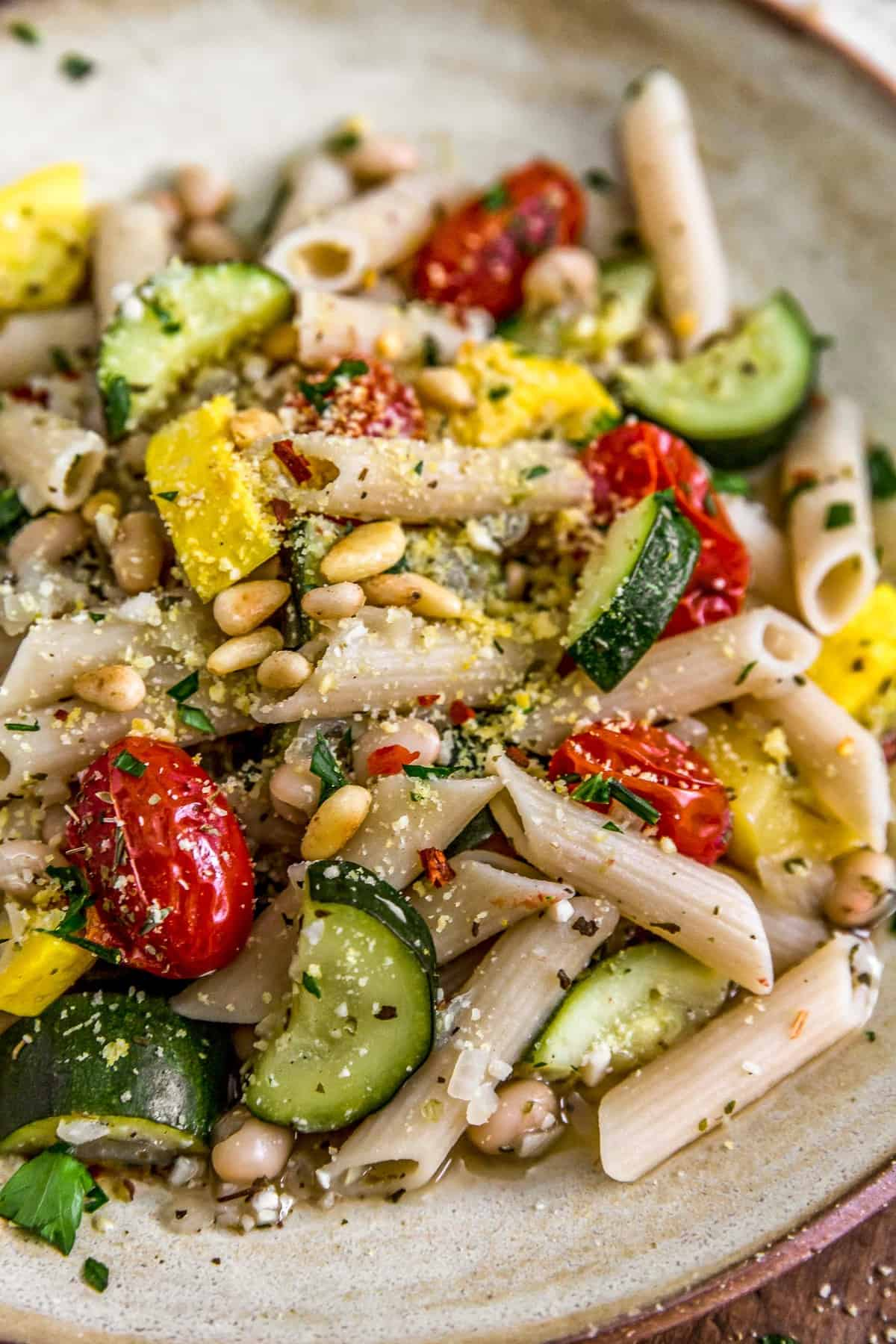 Close up of Vegan Parmesan Veggie Pasta on a plate