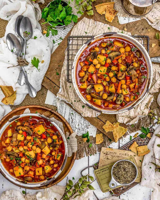 Tablescape of Vegan Spanish Zarzuela Stew