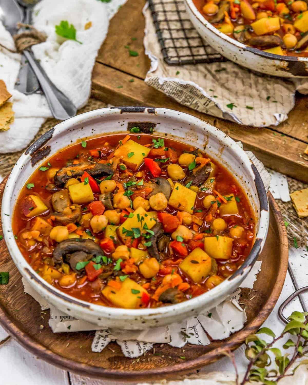 Two bowls of Vegan Spanish Zarzuela Stew