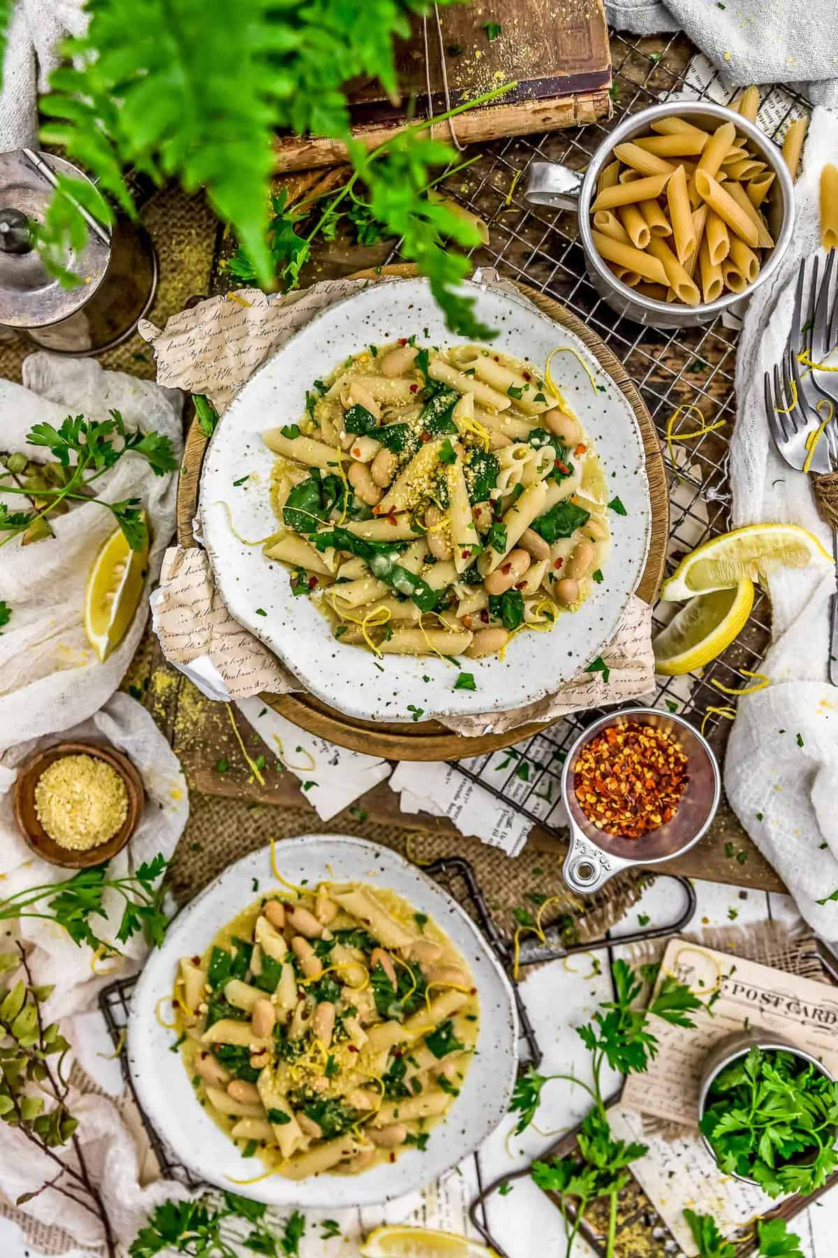 Tablescape of Lemony Pasta with Greens and Beans