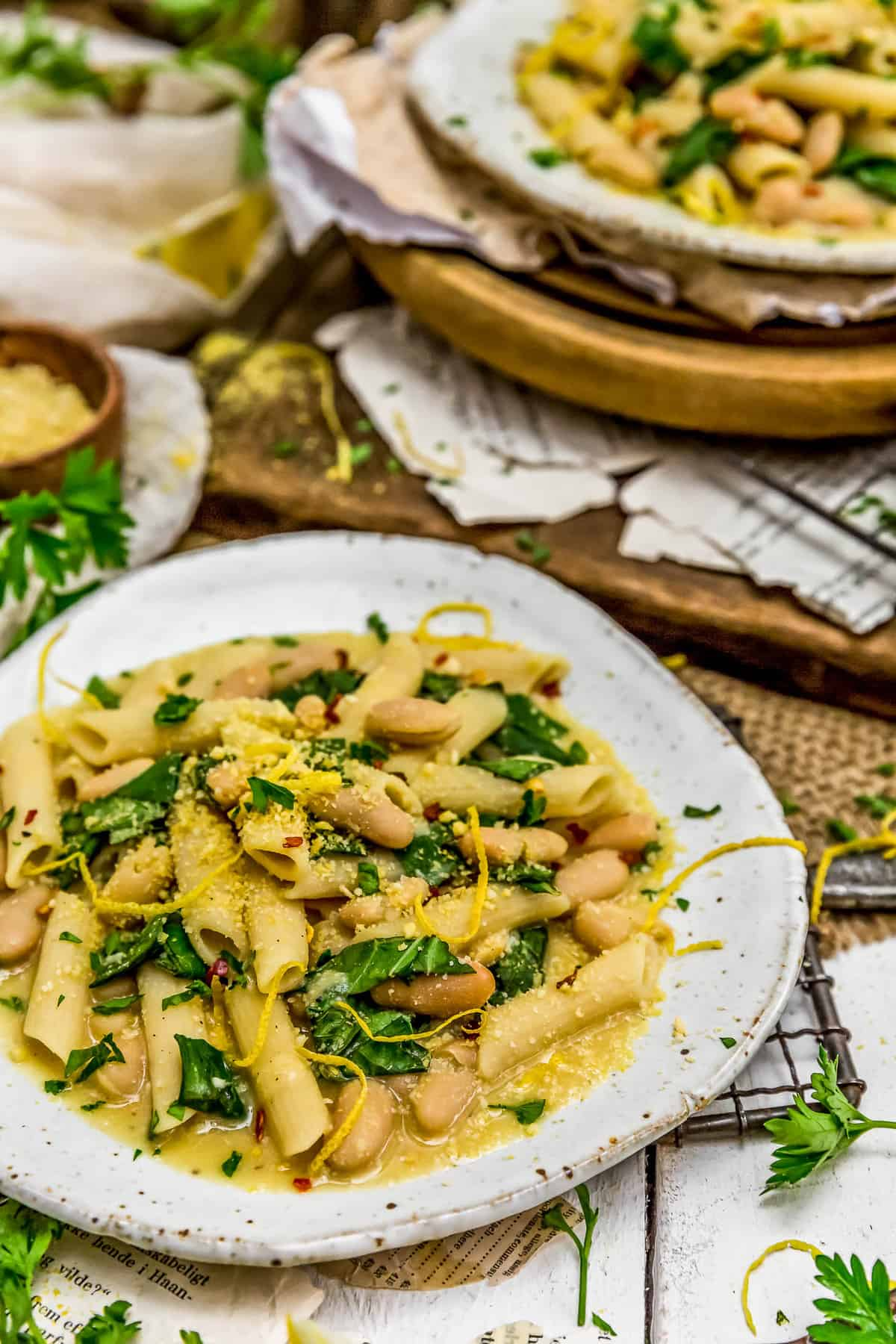 Plated Lemony Pasta with Greens and Beans